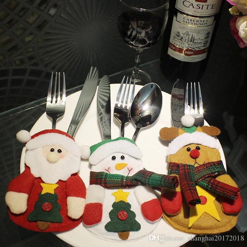 2019 De Noël Poche Fourchette Couteau Décoration Table Pouch Belle Père Noël Bonhomme De Neige Dîner Cuisine Vaisselle Titulaire