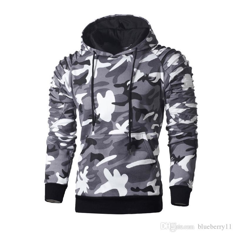 Herren Hoodies Sweatshirts Camo Print Männer Herbst Plissee Sweathirt Lässige Mode Hüfte Streetwear Übergroße Kleidung Langarm