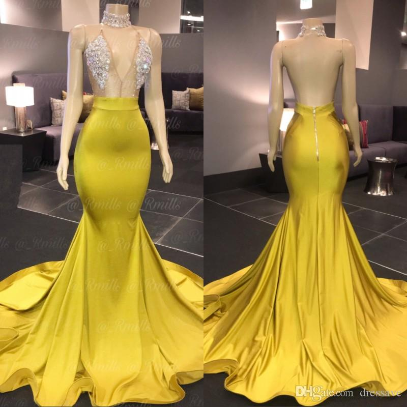 Yellow Gold Prom Dresses Sexy V Neck Sleeveless Mermaid Halter Open Back Sweep Train Formal African Evening Dress
