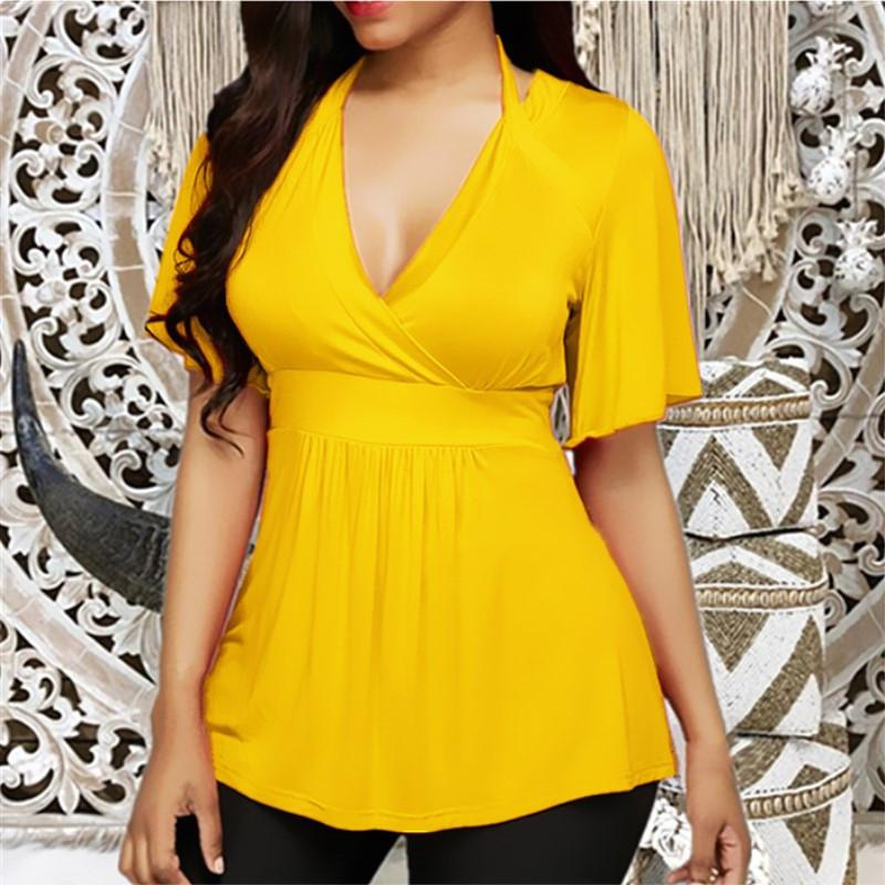 5XL Plus Size Women Solid T Shirt Short Sleeve Short Sexy V-neck Shirts Casual Tops Tight Waist Slim T-Shirts Casual Top 2019 CX200620