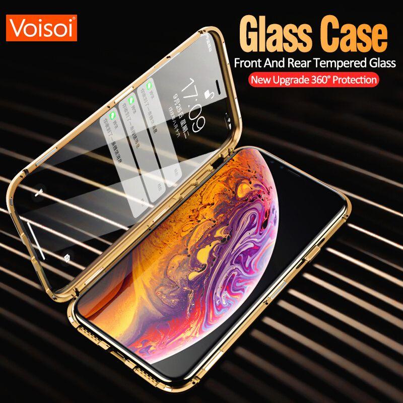 Doppelseitige glas metall magnetkasten für iphone x 10 xs max xr glas fall magnet abdeckung 360 vollen schutz für iphone xs max