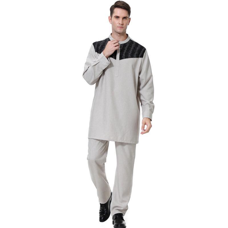 Moslemisches Mannkleid Arabische Islamische Gebetskleidung Moslemisches Mann-langärmliges weißes Robenkleid Herrenanzug Pakistan Ropa Turca Bluse + Hose