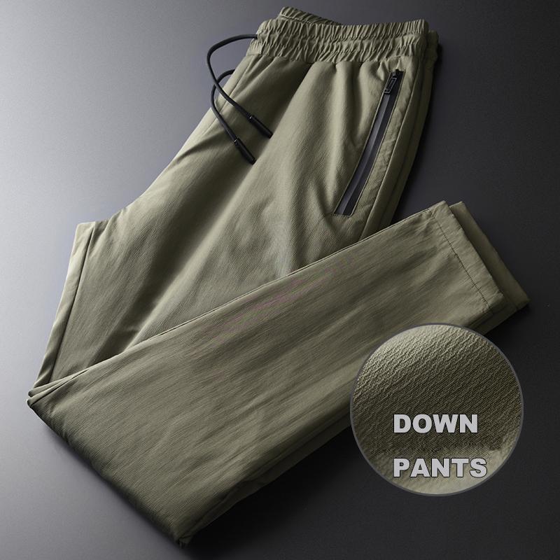 Зеленый мужской роскошный ветрозащитный эластичный пояс толстые мужские пуховые брюки зима Slim Fit Мужские брюки плюс размер 4XL