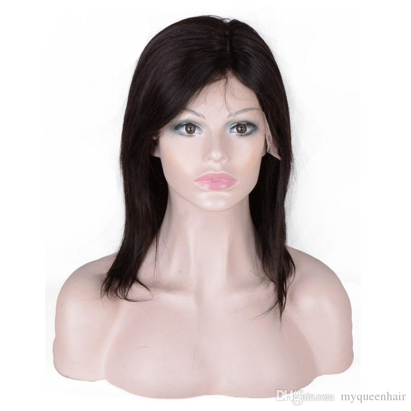 Short pixie Wigs Brazilian Virgin Hair Straight Lace Front Human Hair Wigs For Black Women Swiss Lace Frontal Wig myqueenhair