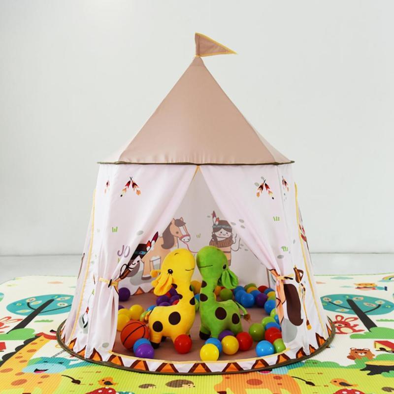 Kid Tent House Portable Princess Castle 123*116cm Present Hang Flag Children Teepee Tent Play Tent Birthday Christmas Gift