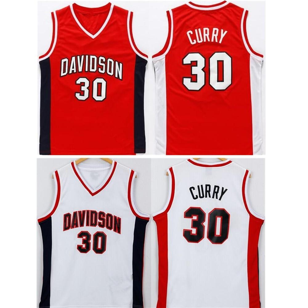 NCAA Davidson Wildcats 농구 저지 레드 스티치 스티븐 30 카레 대학 저지 남성 컬러 팀 자수 무료 배송