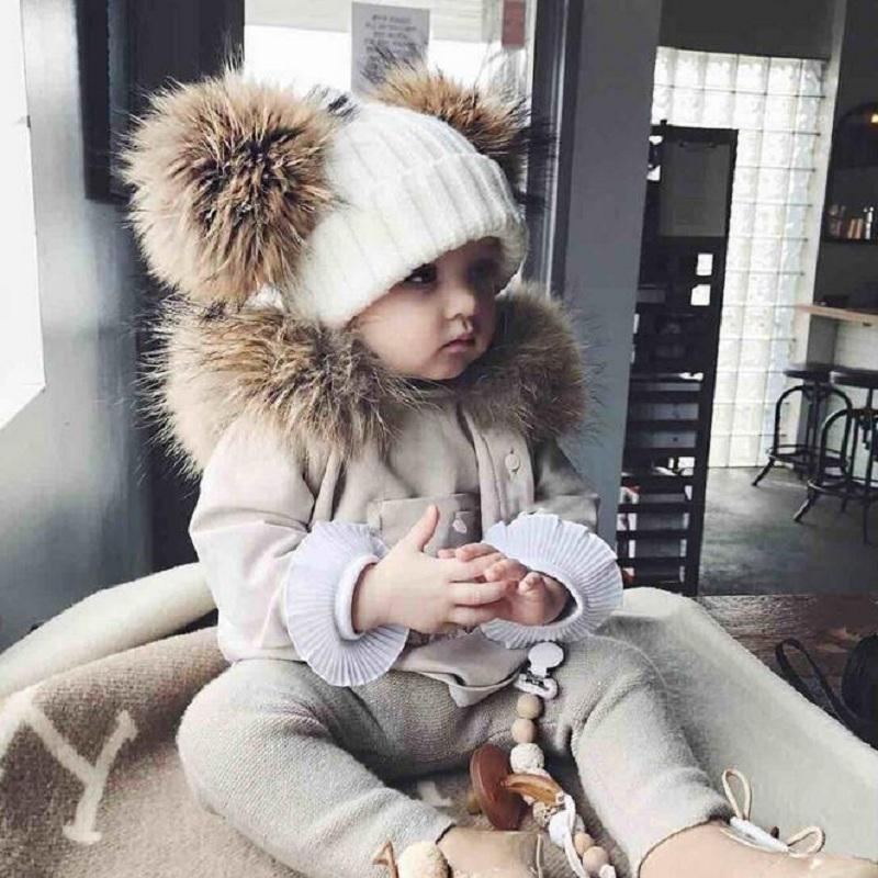 Partisig Brand Hat Raccon Fur Two Ball For Baby Girl Winter Children Hats Caps Q190521