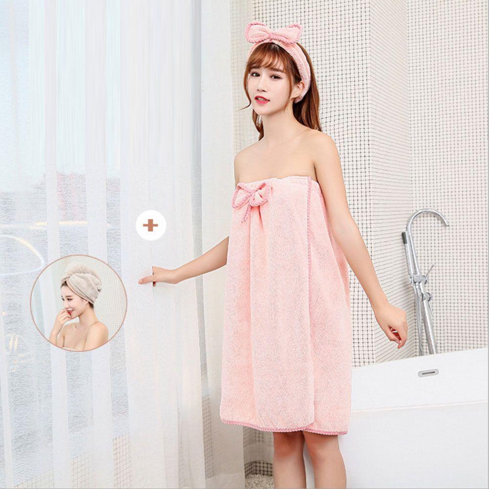 3 Pcs menina Toalha de banho Set Sexy Enrole Nightgown saia Bra Toalha de banho Cap Dry Hair Headband Set nova