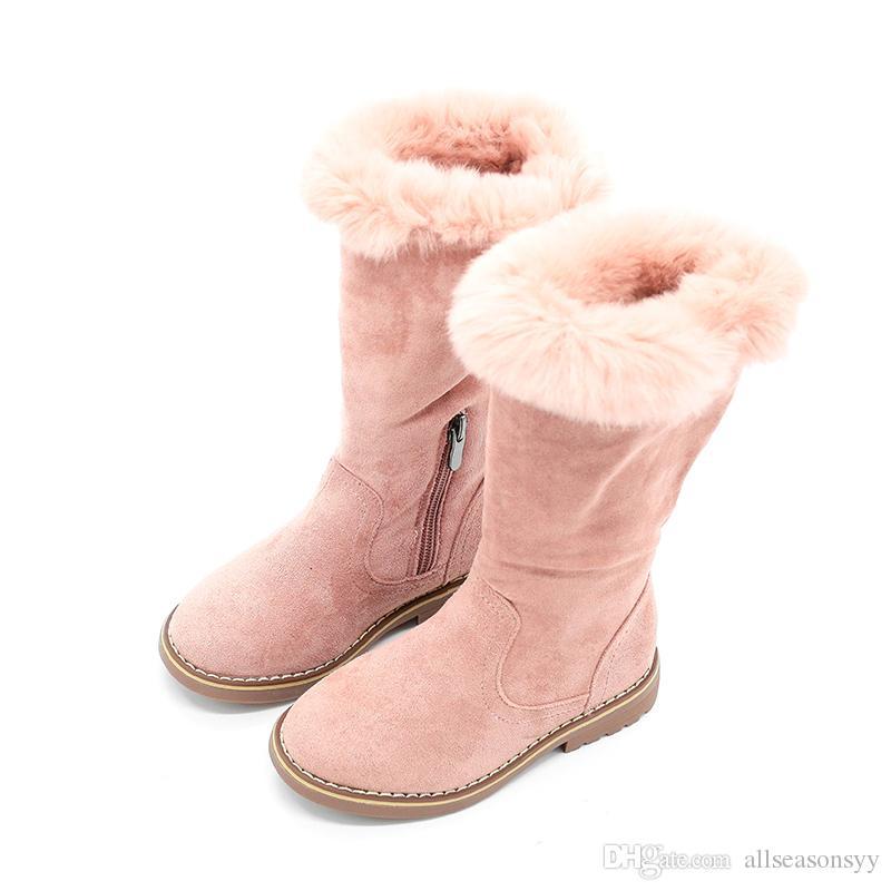 принцесса девушки сапоги Марка высокого качества дети высокие сапоги для девочек мех хлопок теплая зима новые детские сапоги