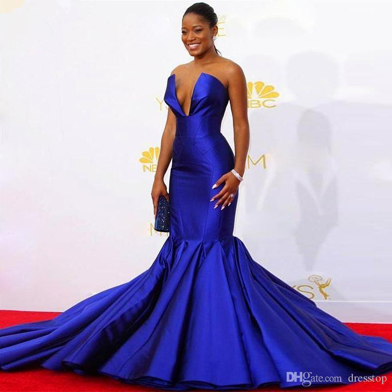 Африканский королевский синий Русалка вечерние платья для черных девочек 2020 без бретелек Атлас развертки поезд плюс размер знаменитости платье