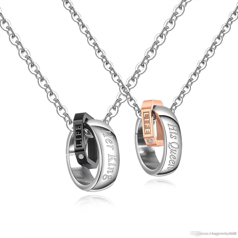 Couple Colliers En Acier Inoxydable Or Rose / Noir Couleur Élégant Cercle Cubique Pendentif Collier Lien Chaîne Bijoux Cadeau GX1450