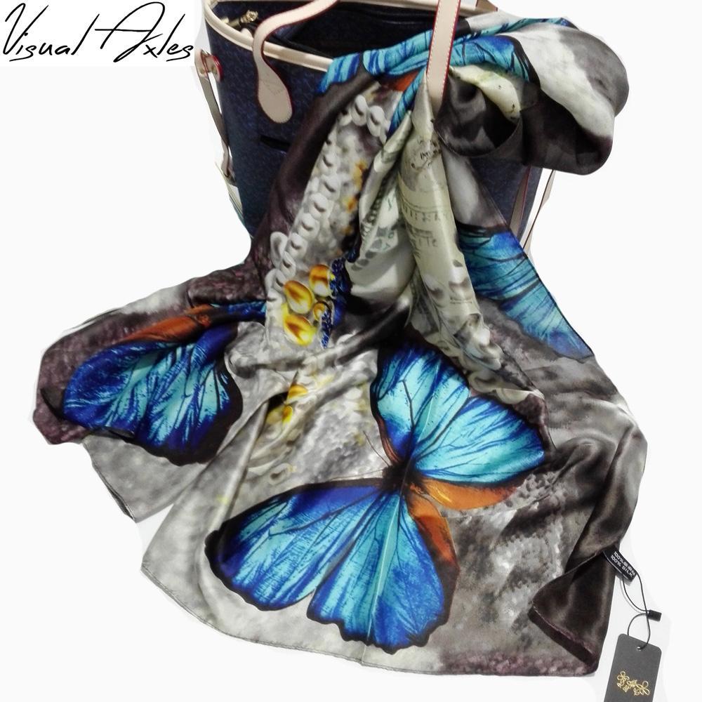 [Визуальное Axles] 2016 год марка шарфов Красочные бабочек печать шелковый шарф женщины шаль палантин