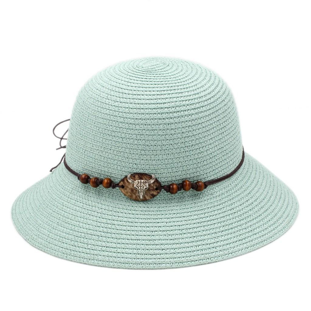 Foldable Women's Ladies Straw Cloche Hat Summer Beach Sun Western Bowler Cap Ox Head Hatband