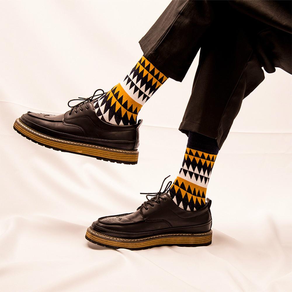 AprilGrass modo di marca Men039; S calzini Autunno Inverno Casual Cotone Crew Socks uomini calzini felici Dots/Stripes quotidiano deodorante/it-Calcetines