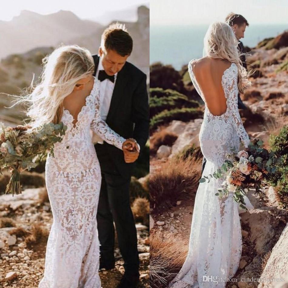 Vintage Country dentelle à manches longues de sirène robes de mariée 2020 Sexy col en V profond Backless robe de mariée longueur de plancher Boho Robes de mariée BC2833