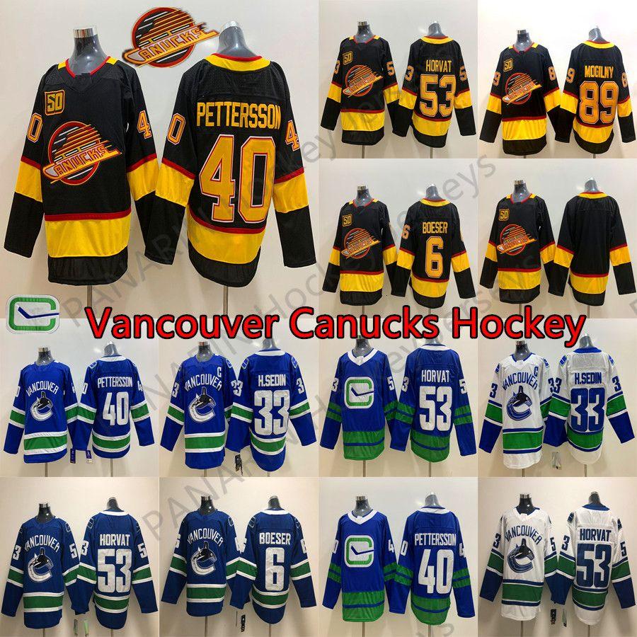 New Vancouver Canucks 50 Seasons 40 Elias Pettersson 6 Brock Boeser 53 Bo Horvat 33 Henrik Sedin Bure 89 Alexander Mogilny Hockey Maillots