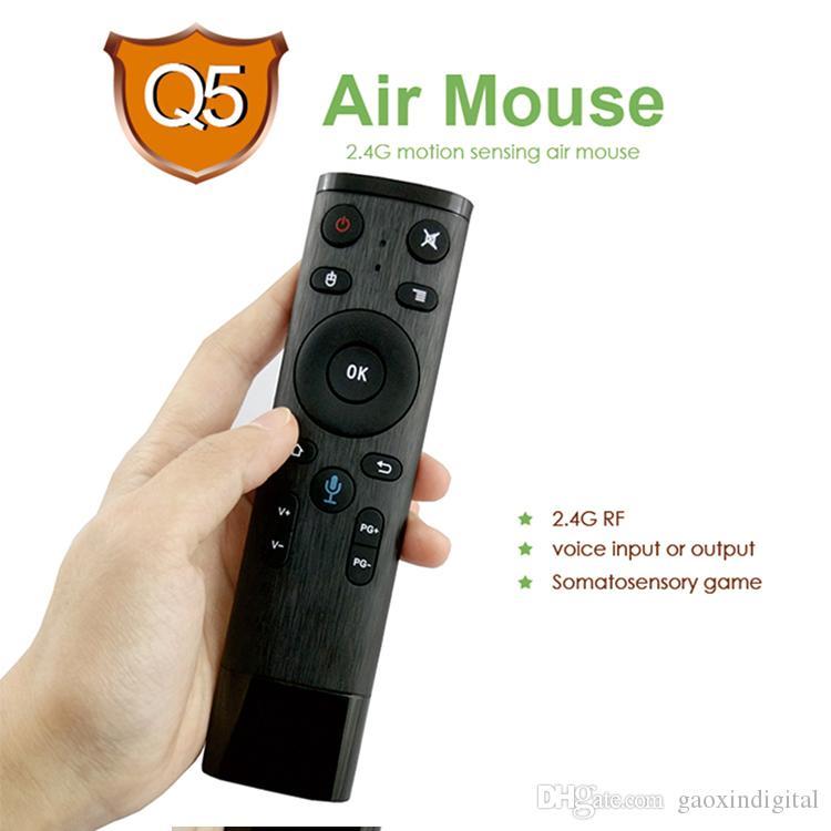 Voz remoto teclado Controle Q5 Fly Air Mouse Wireless 2.4 GHz Gyro Microfone Para Android TV Box T9 x96 mini-H96 max Qplus