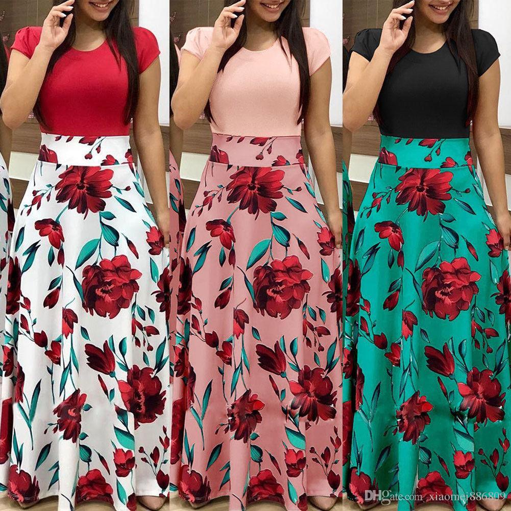 Femmes Floral Long Maxi Robe à manches courtes Soirée Soirée Suit Plage Robe
