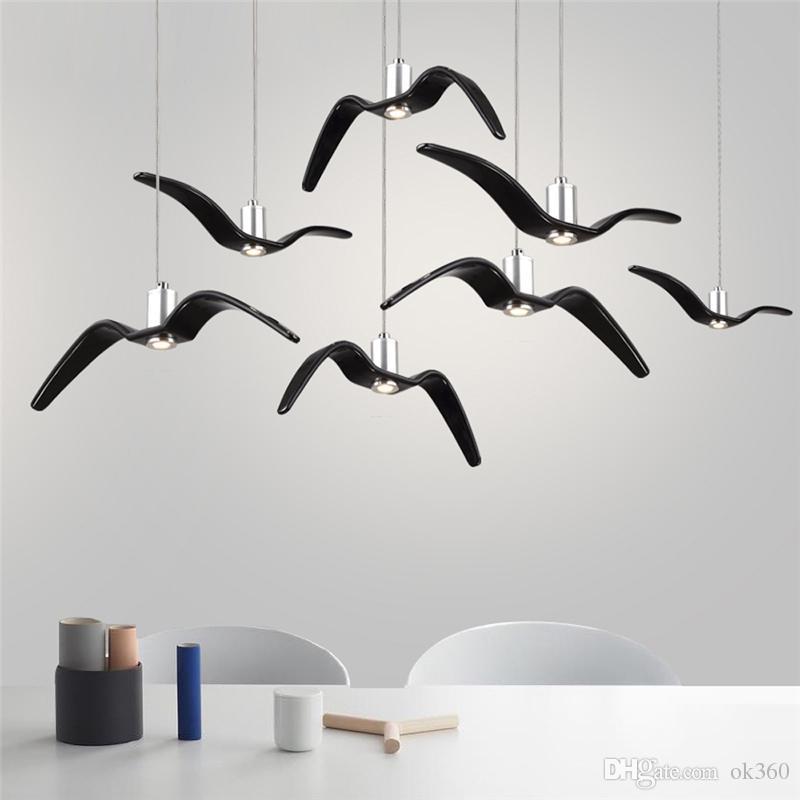 Luminárias LED Nordic Chandelier resina iluminação Gaivotas Birds Silhouette Lâmpadas Pingente de cozinha Lâmpadas de suspensão Coffee Shop Luz de suspensão