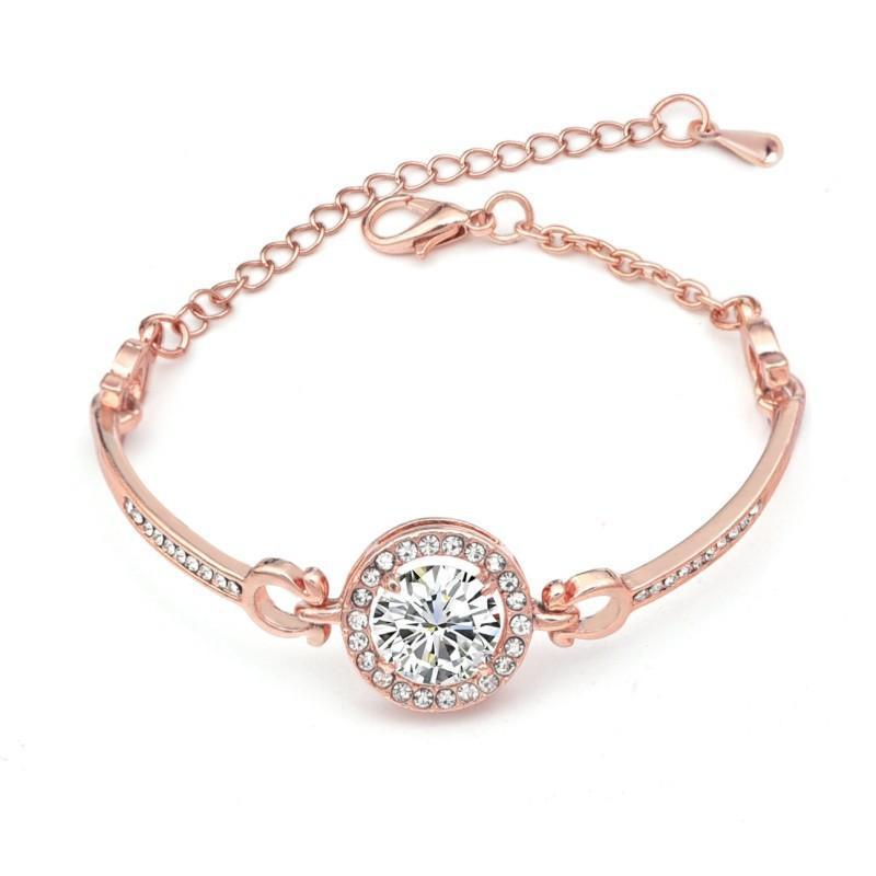 Zaman sınırlı Promosyon Hediye Rose Gold Gümüş Kristal Bileklik Yüksek dereceli Moda Kristal Bilezikler Kadınlar Takı için uygundur