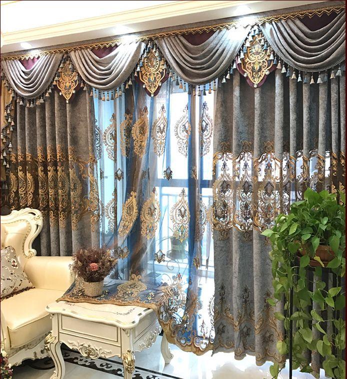 Stickerei-Shading von europäischem Stil Chenille Villa Vorhängen für Esszimmer Schlafzimmer Wohnzimmer.