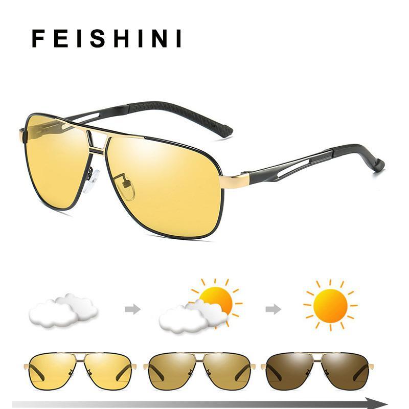 Calidad Día Visión Nocturna Gafas Conductor Gafas de Sol Polarizadas Hombres Amarillo Hd Gafas de Conducción de Automóviles Fotocromático Aire Libre