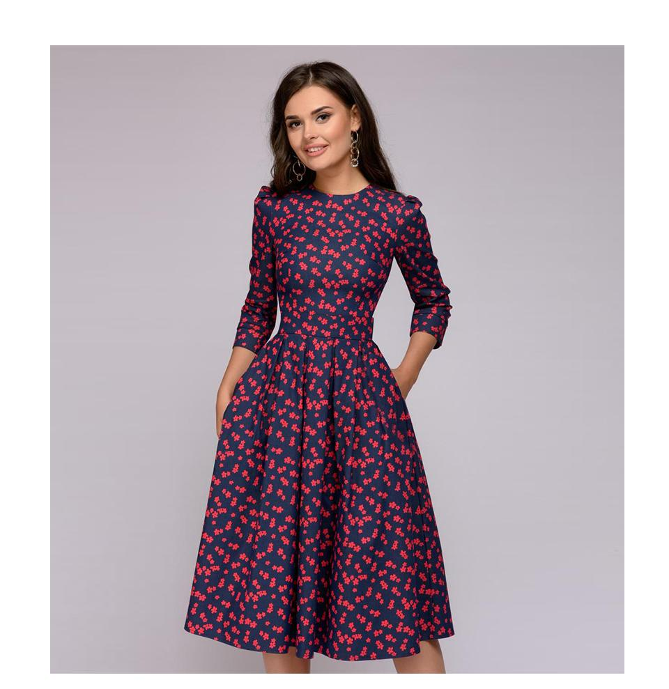 2019 New Women Elegent A Line Dress 2019 Vintage Printing Party