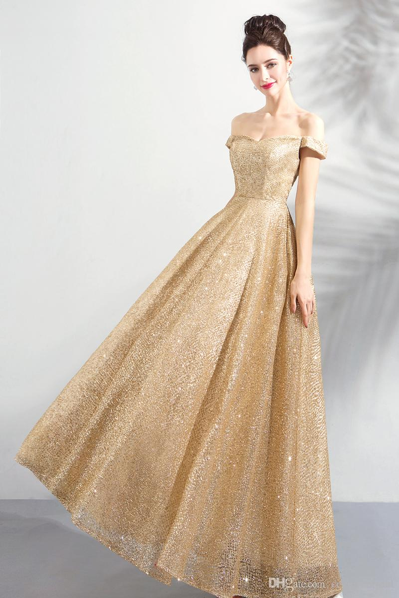3179de09 New Arrival Gold Sequins A-line Long Prom Dresses 2019 Hot Sell Lace-Up ...
