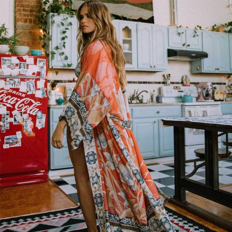 Bohème imprimé floral Beachwear Vintage Kimono vacances Bikini Cover Up Robe De Plage Sarong plage maillot de bain Cover-Ups