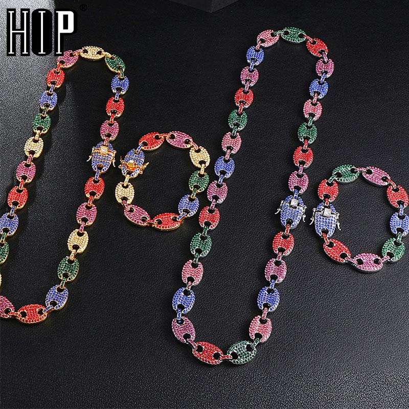 HIP HOP 1kit Bling Multicolor Coffee Bean Iced Out CZ Pig Nose Rhinestone Charm Link Chain Necklaces & Bracelet for Men Jewelry