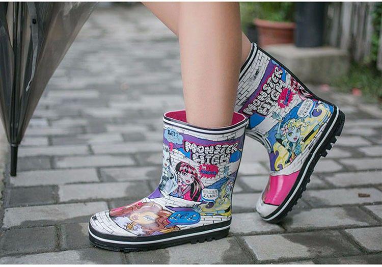 Горячая распродажа-мода гений сапоги леди печать кожа низкий каблук скольжения водонепроницаемый Welly пряжка Rainboots 2016 новая мода дизайн женщины дождь
