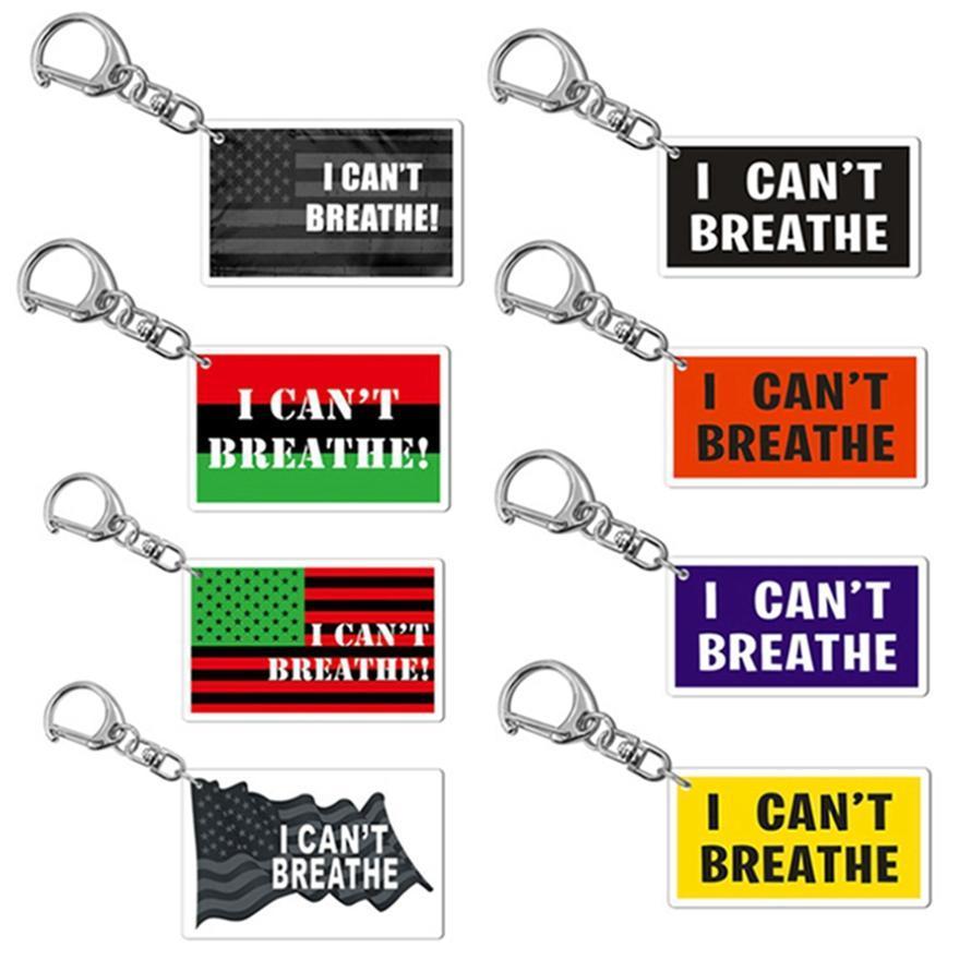 I Cant Breathe catena portachiavi acrilico Lettera del pendente di chiave Slogan americana Parade per chiavi auto Bag Portachiavi nero Lives Matter HHA1349