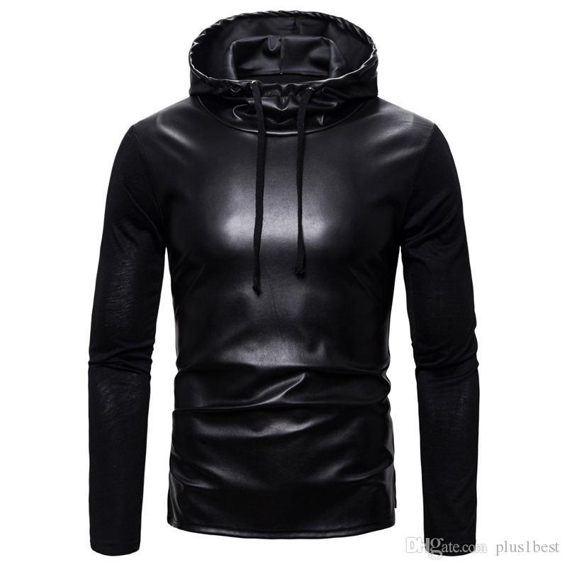 Кожа конструктора Mens Tshirts Черного пуловер Длинный мужской рукав с капюшоном сплошного цвета вскользь Mens тройников