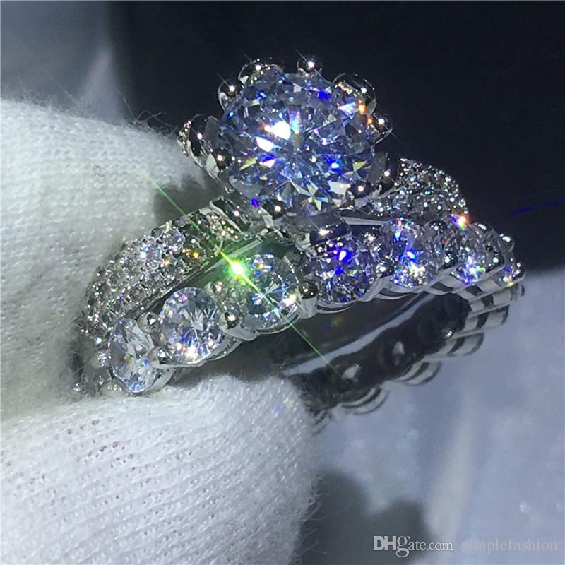 Vecalon 클래식 꽃 약속 반지 세트 다이아몬드 Cz에 스톤 여성 남성 보석 925 스털링 실버 약혼 결혼 밴드 반지
