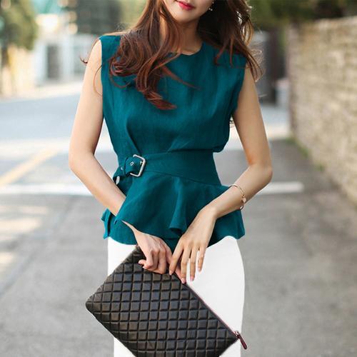 2019 Kadınlar Moda Gömlek O-boyun Kolsuz Kuşaklı Peplum Bluz Şık Artı boyutu Yaz Femme Chemise blusas Yüksek Kaliteli Y200622 Tops