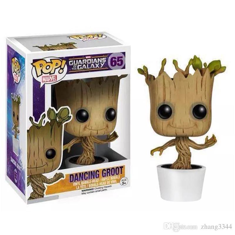 Marvel Groardians Galaxy Groot FUNKO POP Kaçık Wobbler Sallamak Bobble Kafa Ağacı Oyuncak PVC Action Figure Ücretsiz nakliye
