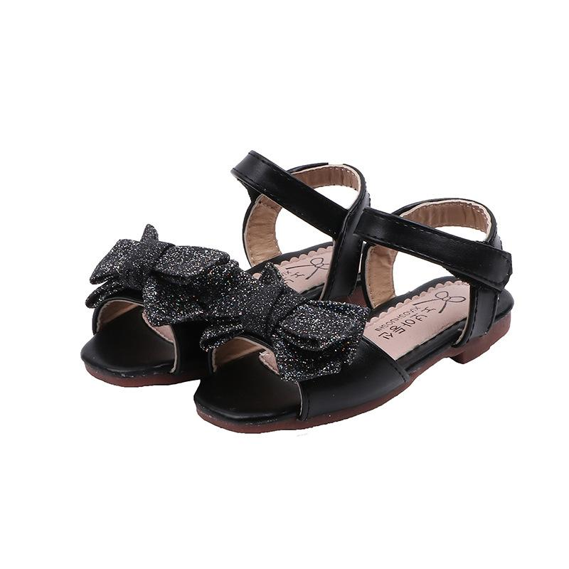 Elegant Girls Sandals Party Wedding Glitter Sandals For Kids Toddlers Baby Girl Children Summer Beach Shoes Open Toes Bow-knot