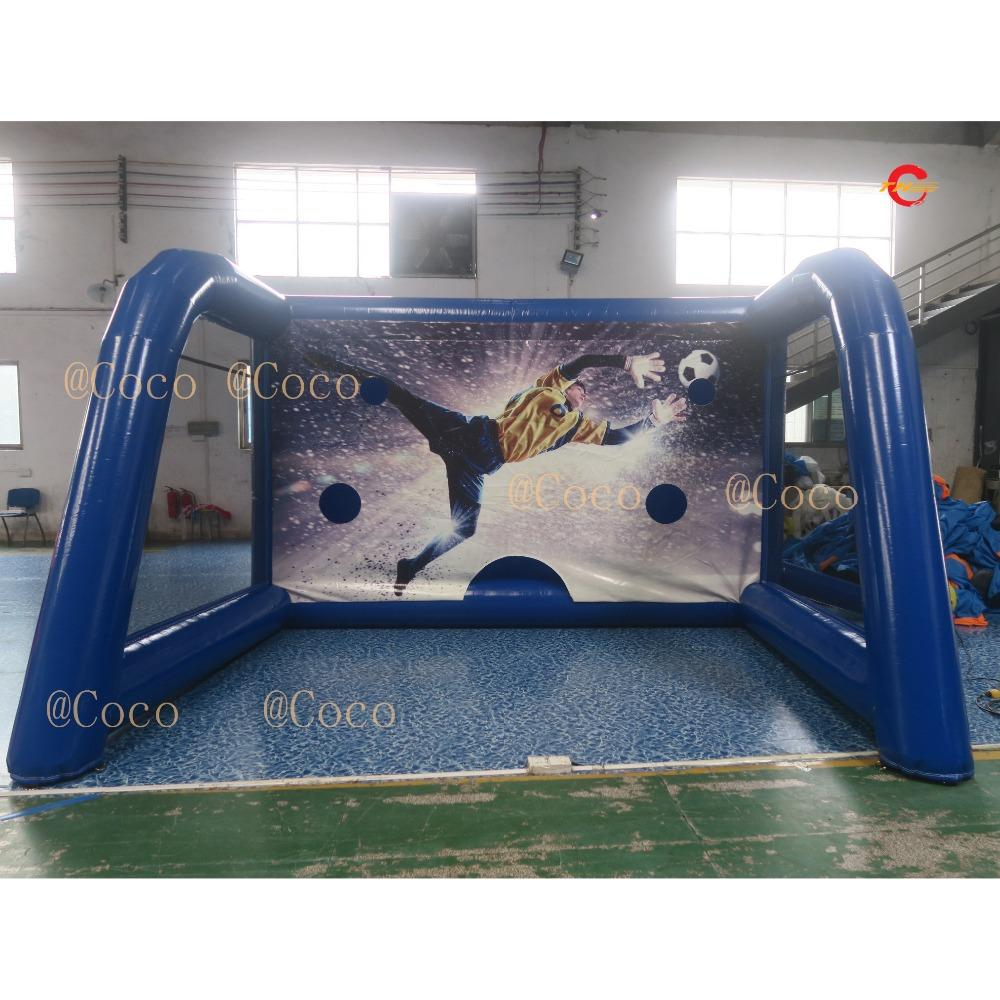 free air ship to door,Best price inflatable football shoot,4x3m inflatable sport game, inflatable soccer goal for sale