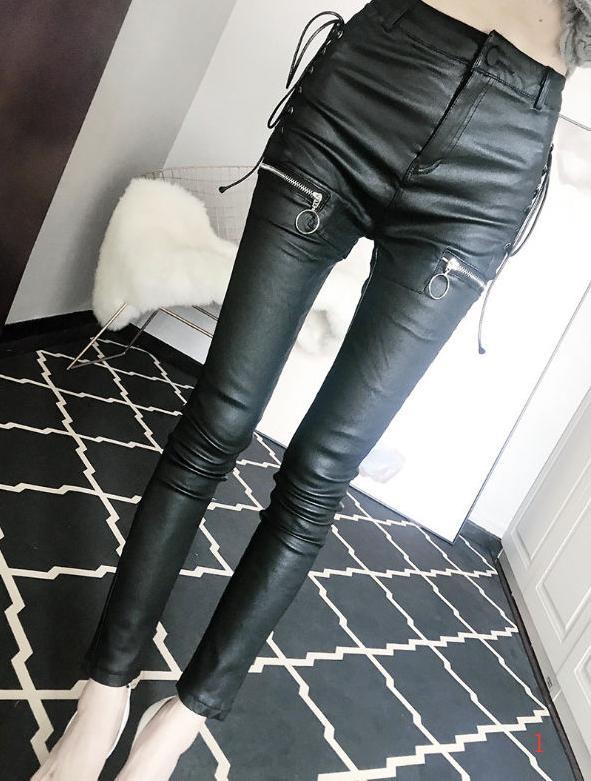 2020 primavera nuevas mujeres forman los pantalones de diseño más delgado atractivo de las piernas de pantalones de cuero con cremallera pantalones apretados de cintura alta vestido del lápiz PH + ZY20040307