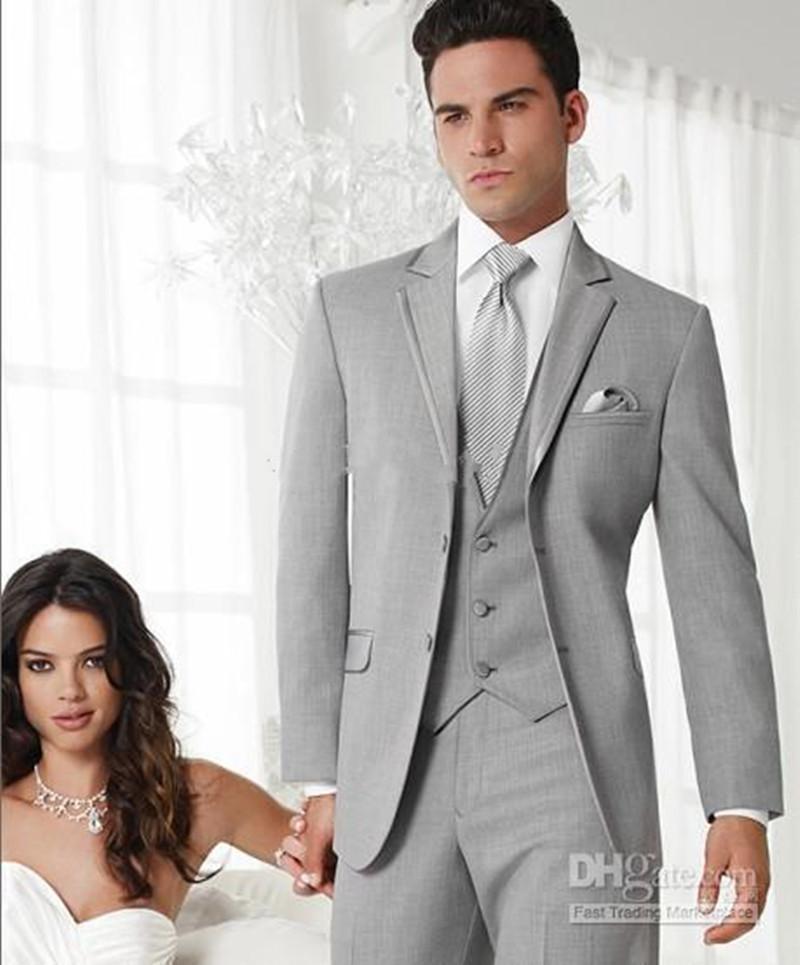Yeni Özel Made Slim Fit Damat Smokin Açık Gri Notch Yaka İyi Adam Suit Düğün Sağdıç Erkekler Damat Suits (ceket + Pantolon + Kravat + Yelek) 1