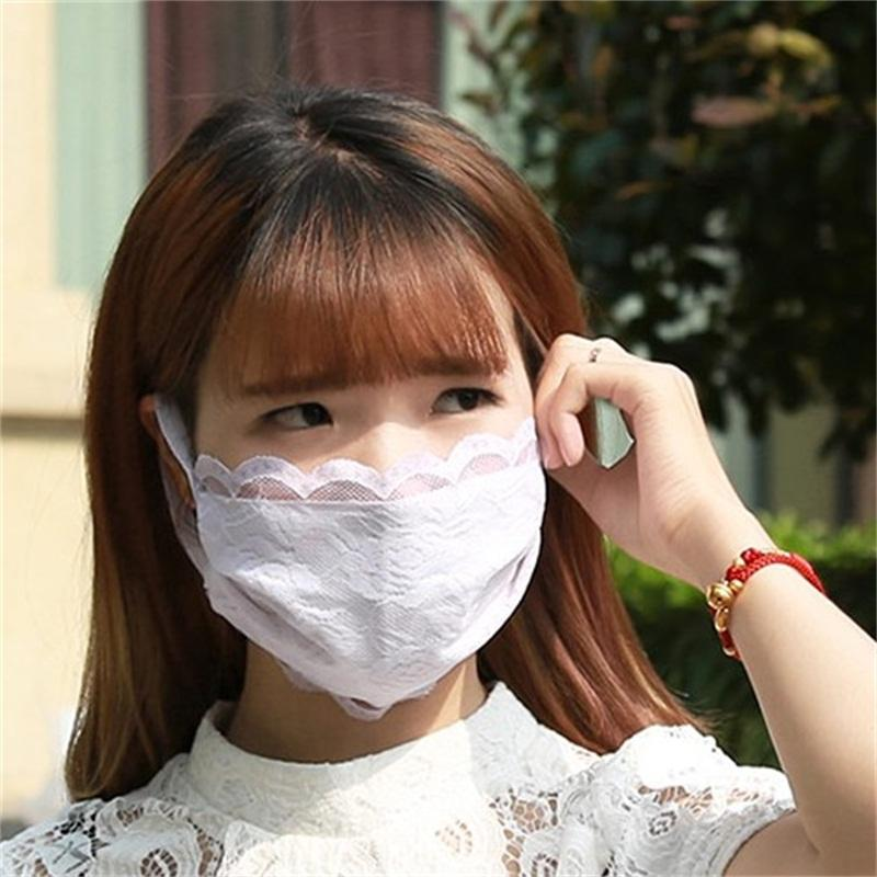 Household Protective Face Mask Pure Colors Sun UV Protection Summer Lace Respirator Mascherine Women Mouth Masks Spring Summer 2jz E1