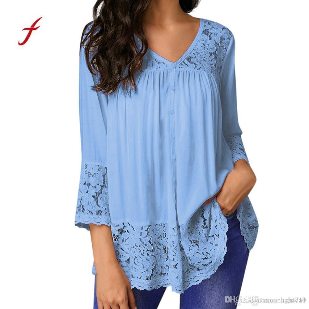 Feitong Abbigliamento taglie forti V-Neck Solid camicetta di estate camice Quarti Loose Women Tre top in pizzo camicetta femminile superiore Blusas / PY