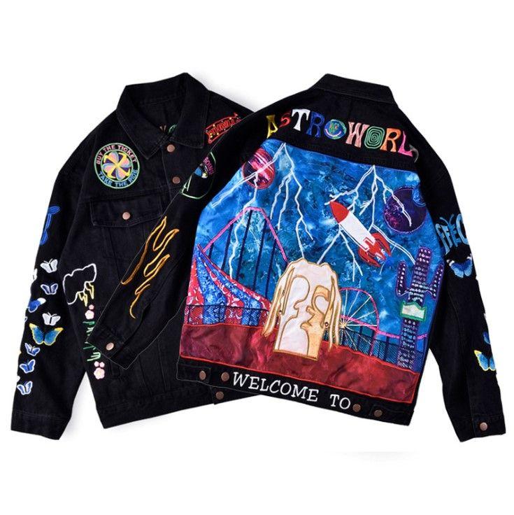 Andys European High Street Denim Washed Embroidered Jacket Fashion Graffiti Coat Couple Women Men Denim Jacket HFXHJK083