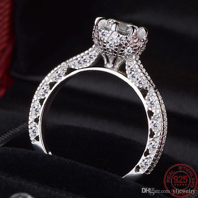 2020 New Design Vintage Luxury 925 Sterling Silver Wedding Engagement CZ Diamond Rings For Women Fine Jewelry Gift XR072