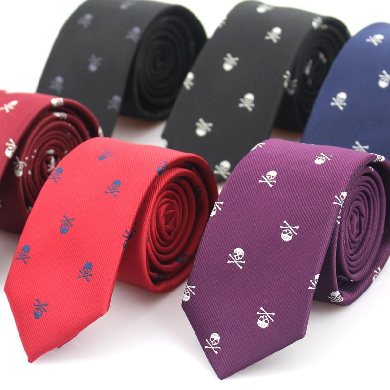 Novas Casual magros crânio Ties For Men Polyester clássico gravatas Homem da forma do laço por laço masculino Wedding Party Gravatas