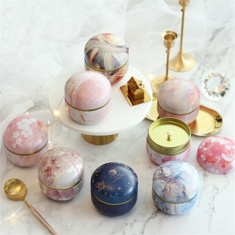 5/10pcs Marble sakura Candy Box Round Iron Gift Boxes Wedding Birthday Scented Candy Packing Box Party Favors Giveaway Gifts