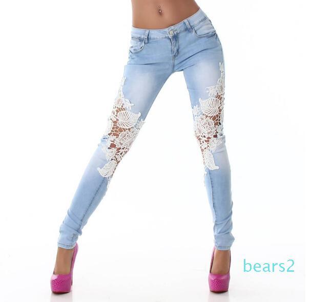 Women Vintage Denim Hot Sexy Openwork Lace Stitching Trousers Slim Feet Jeans Woman Plus Size Women Pants 2020