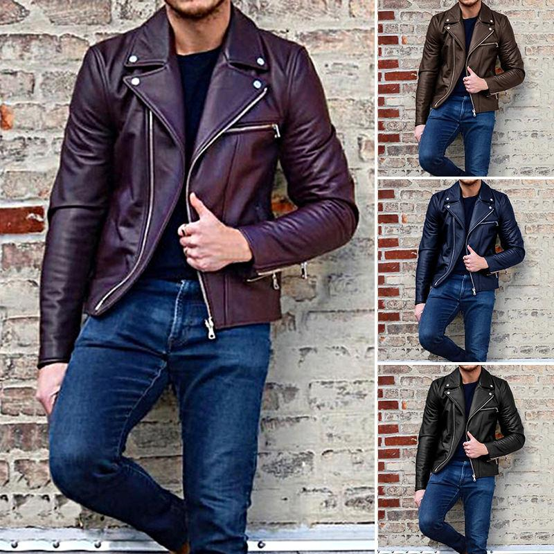 Весна осень PU кожаная куртка на молнии с отворотом шеи мужские пальто с длинными рукавами сплошной цвет мужской одежды