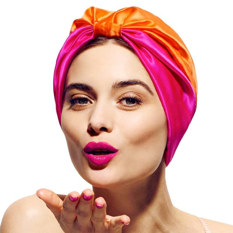 Yeni İpeksi Turban Saten Astar Uyku Cap Kadınlar Kemo Şapka