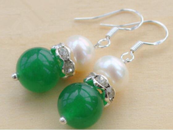 Jade-Ohrring-schöne natürliche 10mm grüne Quarzitstein weiße Perle 925 Sterlingsilber-Ohrringe Freies Verschiffen